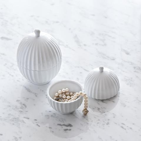 Lyngby bonbonniere 11 cm x 8 cm klar hvid porcelæn