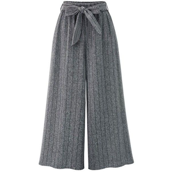 Gray 2xl Striped High Rise Wide Leg Pants ($15) ❤ liked on Polyvore featuring pants, bottoms, striped pants, high rise pants, grey wide leg trousers, high waisted trousers and high waisted pants