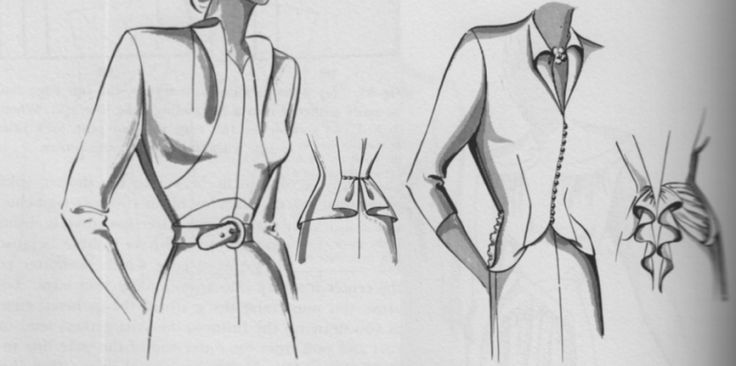 Folding excess fabric into draped necklines and style features