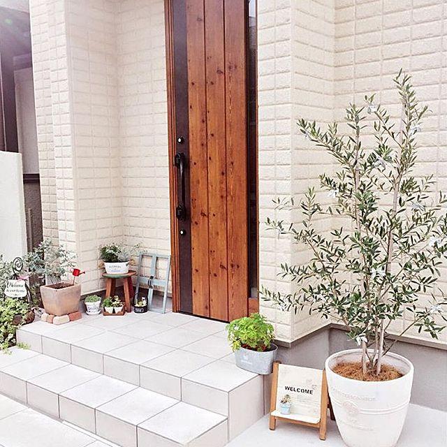 これでおうちの印象が決まる 外から見た玄関周り 玄関 観葉植物 玄関 植物 玄関 植木