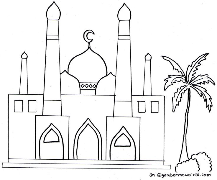 Gambar Mewarnai Masjid Kaligrafi Mosque Projects To Try Islam
