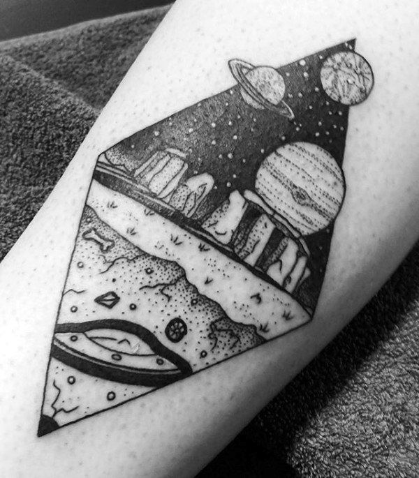 Dotwork Planets Alien Mens Forearm Tattoo