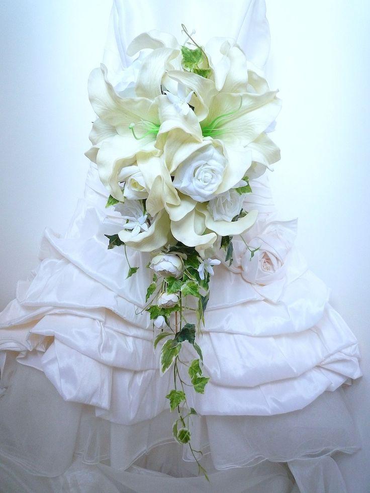 Bouquet de mariée cascade fleur artificielle rose blanc , lis blanc cassé,jasmin blanc et la boutonnière (réf,bouquet-c019) : Autres accessoires par fleur-angelique