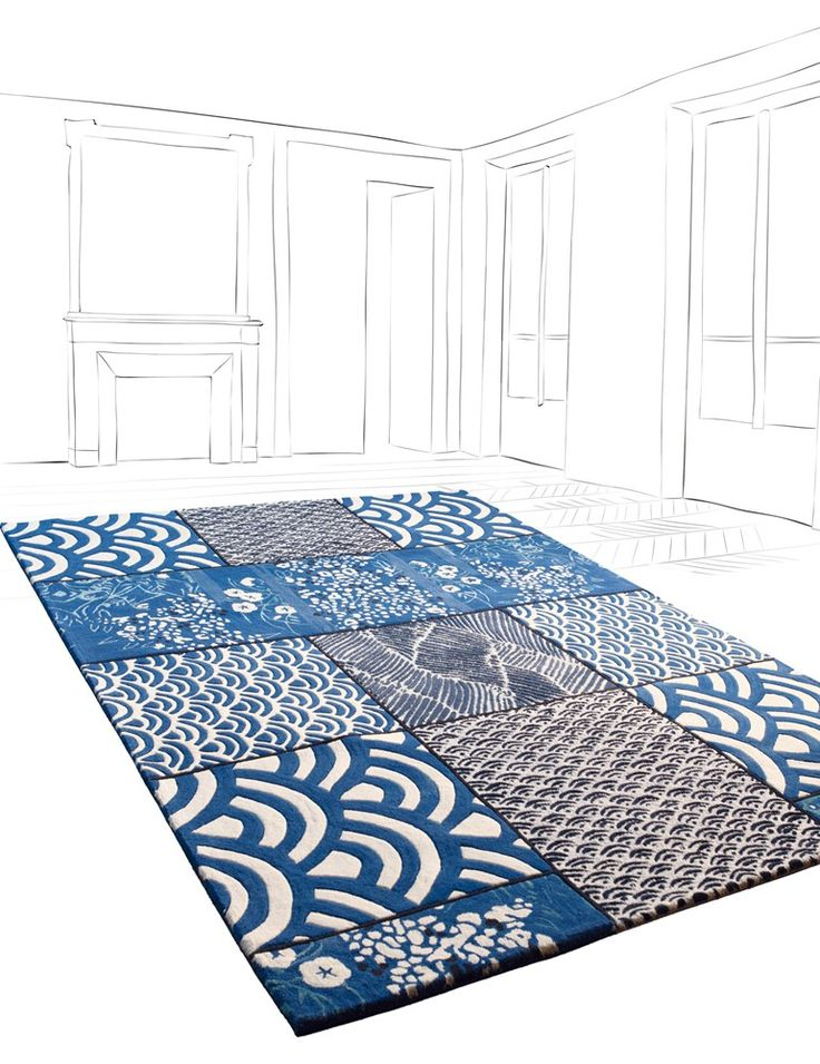 Patchwork rectangular wool rug osaka by toulemonde bochart - Tapis florence bourel ...