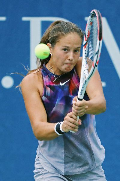 Daria Kasatkina of Russia returns a shot against Christina McHale of the United States during their second round Women's Singles match on Day Four of the 2017 US Open at the USTA Billie Jean King National Tennis Center on August 31, 2017 in the Flushing neighborhood of the Queens borough of New York City.