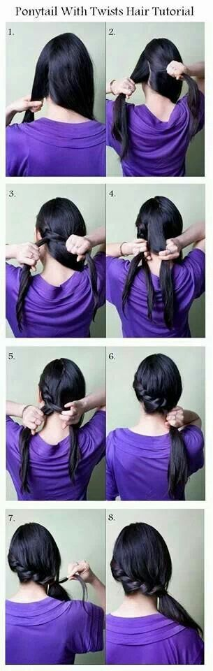 How to braid hair with small braid ponytail