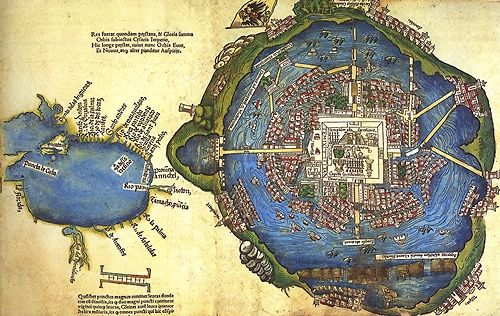 Like Venice, the Aztec capital city of Tenochtitlán was built on a series of marshy islands, though it was located in a mountain basin rather than a lagoon. This hand-colored woodcut map was the first picture Europeans had of the city, printed in Nuremberg, 1524