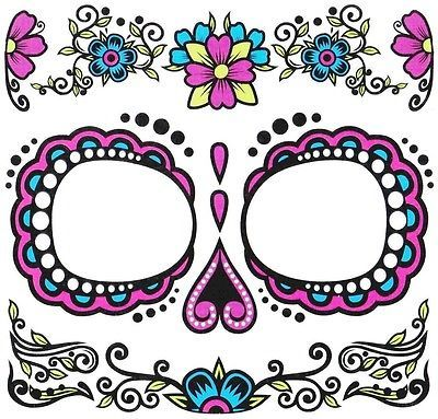 Dia-de-los-Muertos-Day-of-Dead-Sugar-Skull-Temporary-Face-Tattoo-Women-039-s-Costume