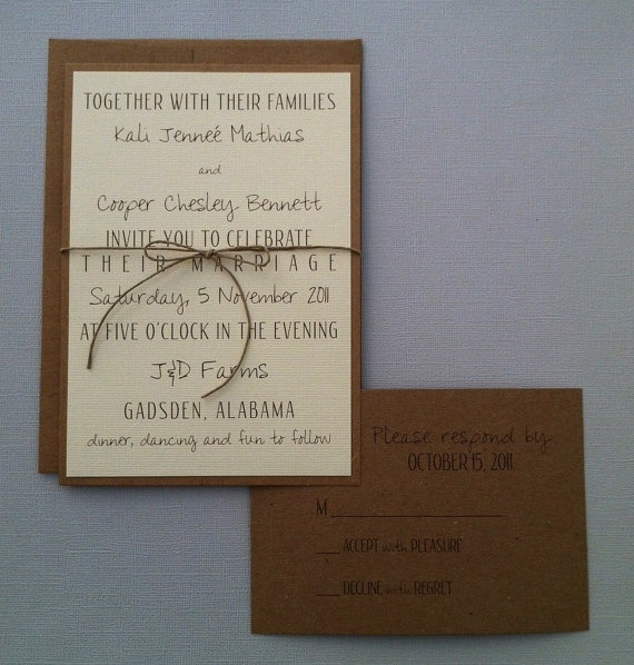 rustic but simple invites