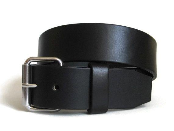 Men's Leather Belt Black Leather Belt Thick Leather Belt English Bridle Leather Belt Handmade Leather Belt Wide Leather Belt - Angel Leather
