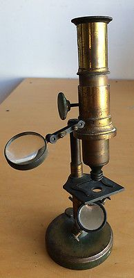 Antique brass optical microscope