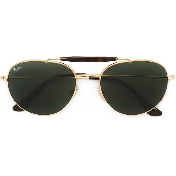 Ray-Ban aviator sunglasses ($215) ❤ liked on Polyvore featuring accessories, eyewear, sunglasses, grey, unisex sunglasses, metallic glasses, ray ban eyewear, unisex glasses and ray ban glasses