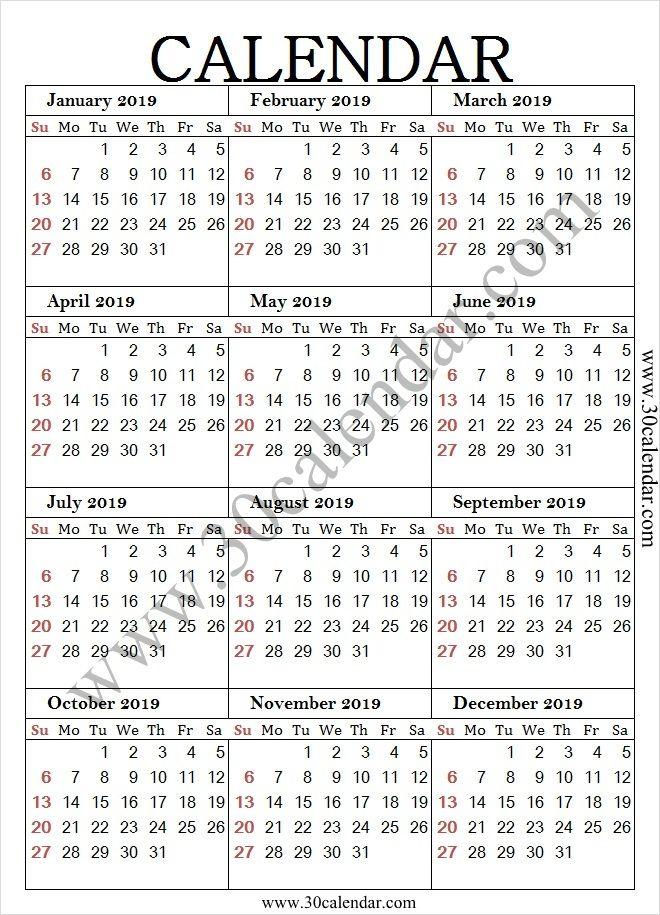 Year Calendar 2019 A4 Calendar Printables