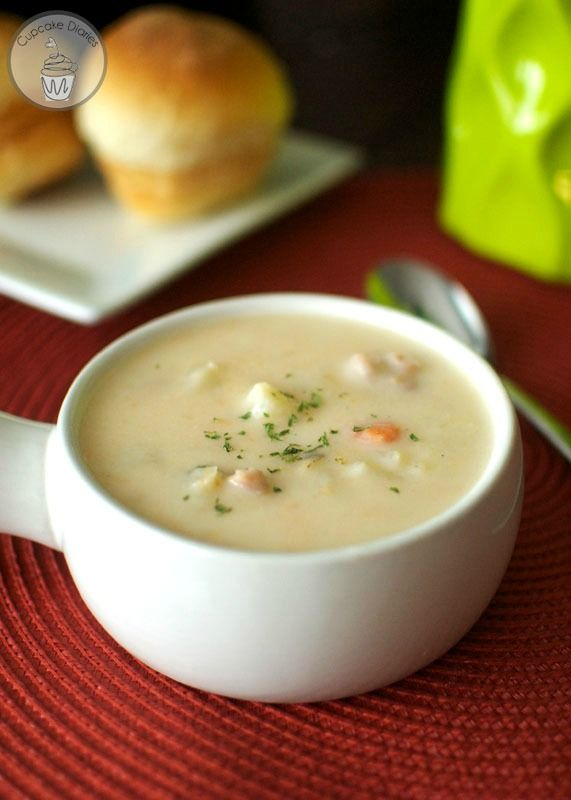 Slow Cooker Ham and Potato Soup - Only 148 calories per serving! And SO yummy.