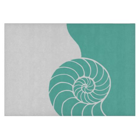 Teal Nautilus Sea Shell Cutting Boards