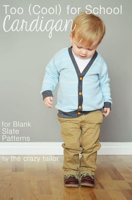 Cool Cardigan by Blank Slate Patterns sewn by The Crazy Tailor - sewing for boys, boys cardigan