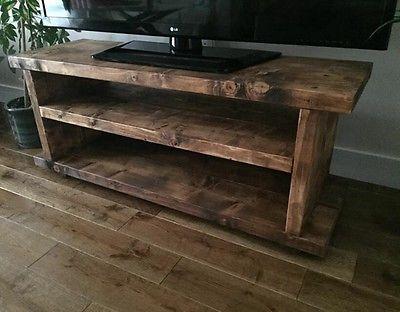Chunky Rustic TV / AUDIO / DVD UNIT Solid Wood Oak effect UK made FREE P&P