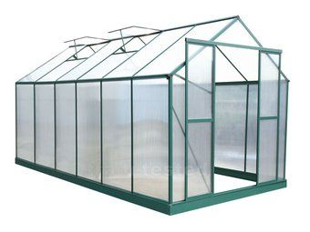 green house FEATURES: - Two sliding doors - 4 top vent windows - Twinwall 4mm polycarbonate with UV coating & protection film, ultraviolet radiation proof (with 5 year warranty) - Aluminium frame - Zinc plated steel bottom frame and pegs - Built in gutter channel - Rust proof