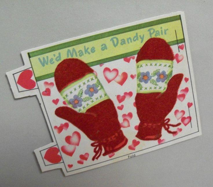 Vtg Valentine Card Flocked Pretty Red Mittens Dandy Pair 40's UNUSED