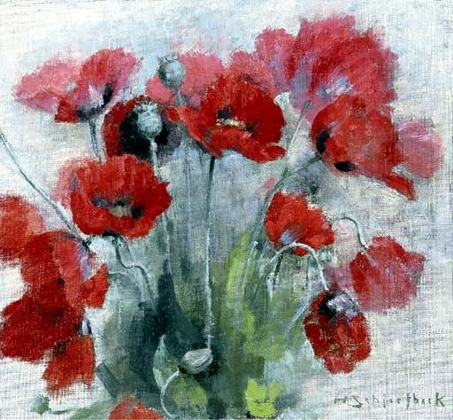 Schjerfbeck, Helene (1862-1946) - 1893 Poppies (Christie's London, 2002). Oil on canvas; 31.4 x 33.6 cm