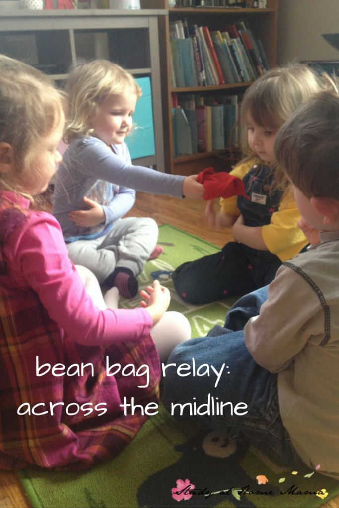 bean bag relay: crossing the midline game, one of seven indoor bean bag games and activities