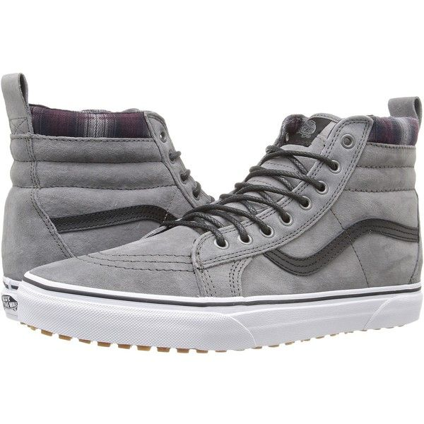 Vans SK8-Hi MTE ((MTE) Pewter/Plaid) Skate Shoes ($85) ❤ liked on Polyvore featuring shoes, sneakers, lug-sole shoes, vans sneakers, skate shoes high tops, grip shoes and vans high tops