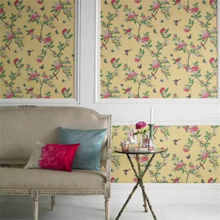 Graham & Brown 52cm x 10m Chinoiserie Yellow Wallpaper #artanddesign #peony #british