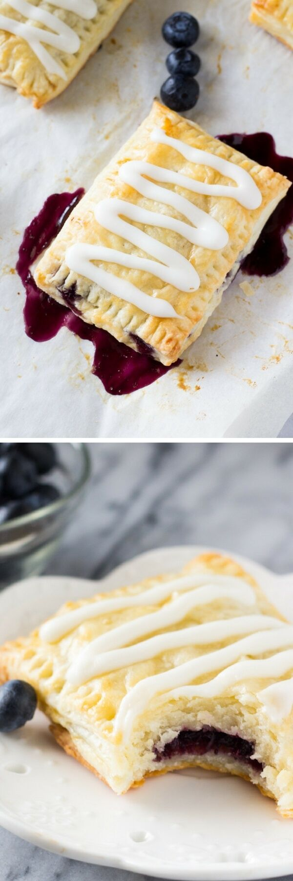 Buttery, flaky homemade blueberry toaster strudels with juicy blueberry centers and sweet vanilla glaze. 1000 times better than the store bought variety - learn to make them at home!