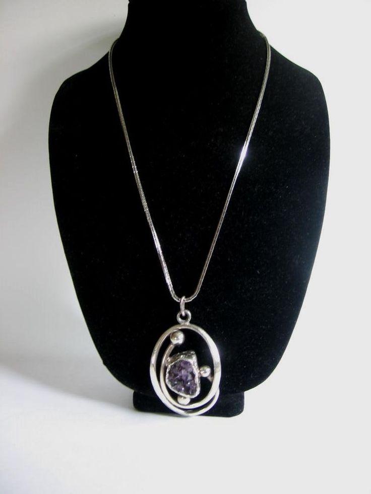 Vintage Smykkesmeden Denmark Modernist Mid Century Amethyst Pendant Necklace | eBay