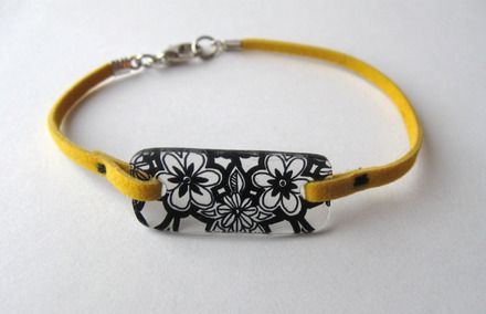 Bracelet fleuri en plastique fou -  Shrinky dink bracelet with flowers