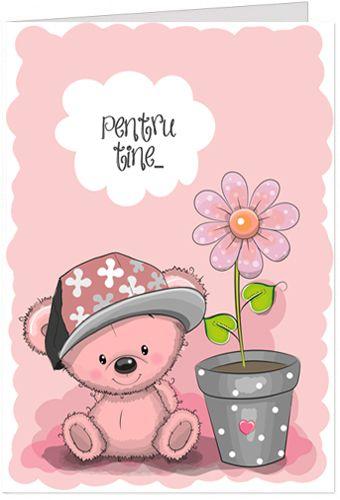 Felicitare personalizata cu un ursulet de plus si o floare. Textul din interior  poate fi personalizat. Aceasta poate fi o felicitare pentru a spune multumesc cu o floare sau pentru a face o declaratie.
