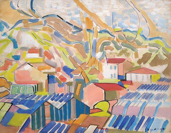 'Les Maisons' by Jacques Lagrange (1917 - 1995) Gouache on Paper: 50 x 65 cm Signed