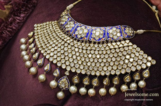 Uncut diamond and pearls bridal jewelry collection by Raniwala jewellers
