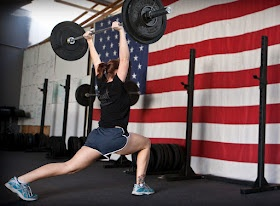 """CrossFit Mamas:     """"Stacey""""    5 rounds for time of:  15 Walking lunge steps, carrying 10 lb dumbbells on shoulders  60 Jump rope"""
