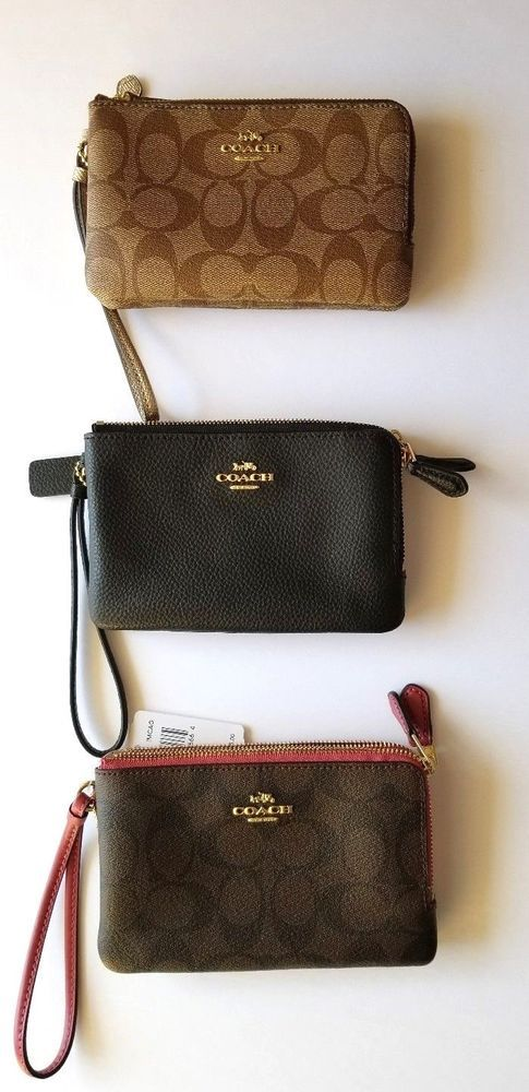 5e606f966c New Coach Double Center Zippered Wallet Wristlet Black Brown F87591 F87590   Coach  WristletWallet