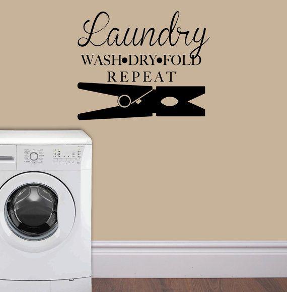 CLOTHESPIN LAUNDRY Wash, Dry, Fold, Repeat   Wall Art   Wall Vinyl