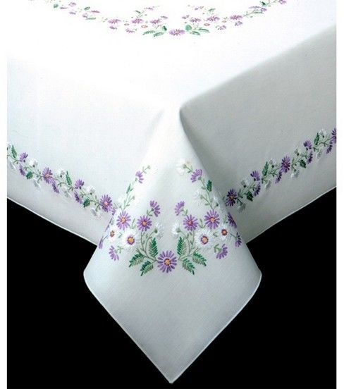 Design Works Rhapsody Stamped Oblong Tablecloth For Embroidery
