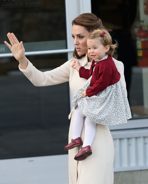 Catherine, Duchess of Cambridge and Princess Charlotte wave as they leave from Victoria Harbour to board a sea-plane on the final day of their Royal Tour of Canada on October 1, 2016 in Victoria, Canada. The Royal couple along with their Children Prince George of Cambridge and Princess Charlotte are visiting Canada as part of an eight day visit to the country taking in areas such as Bella Bella, Whitehorse and Kelowna