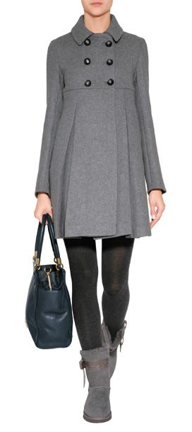 A pretty pleated empire waist lends a dash of Parisian-chic to this fit and flare coat from Paul & Joe Sister #Stylebop