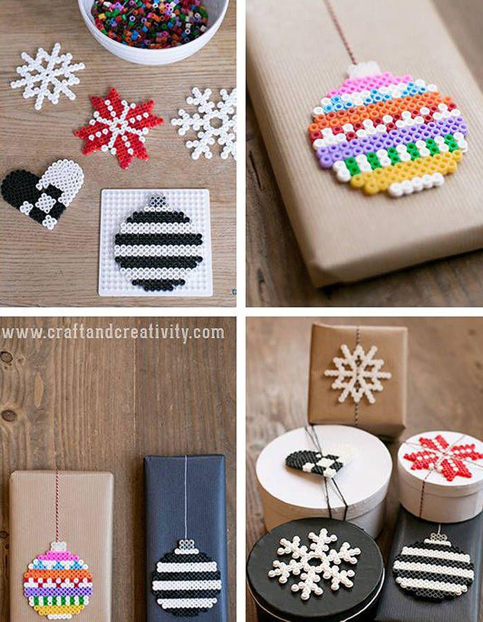 Emballage cadeau avec des perles plates