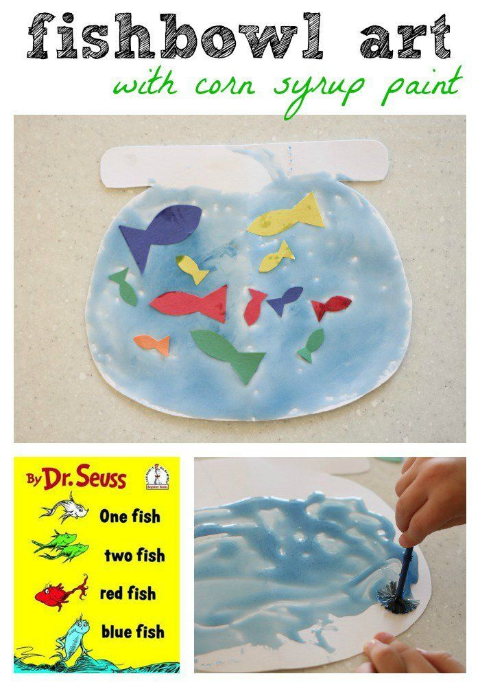 One Fish Two Fish Red Fish Blue Fish Craft with Corn Syrup Paint