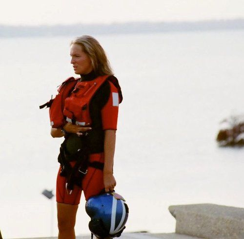 Sara Faulkner, the first woman to qualify and serve as a Coast Guard rescue swimmer
