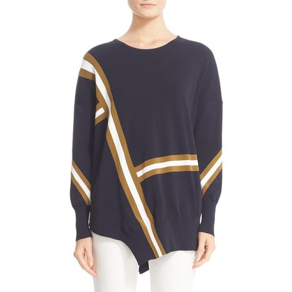 Women's Belstaff Soraya Asymmetrical Intarsia Sweater ($595) ❤ liked on Polyvore featuring tops, sweaters, slouch sweater, print top, drop shoulder sweater, belstaff and intarsia sweater