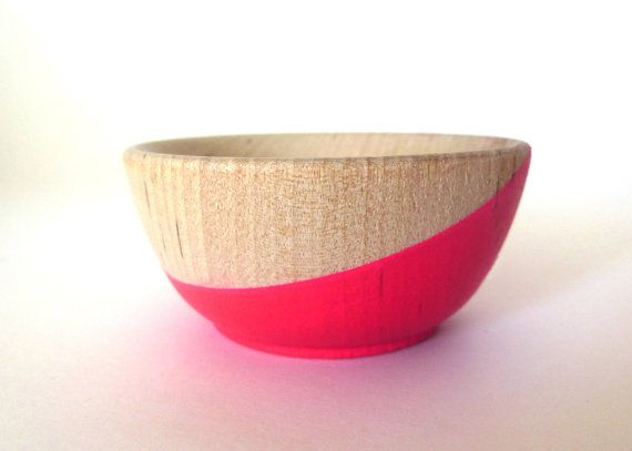 Neon pink wood dish jewelry dish ring cup mini door paragraphloop, $10.00