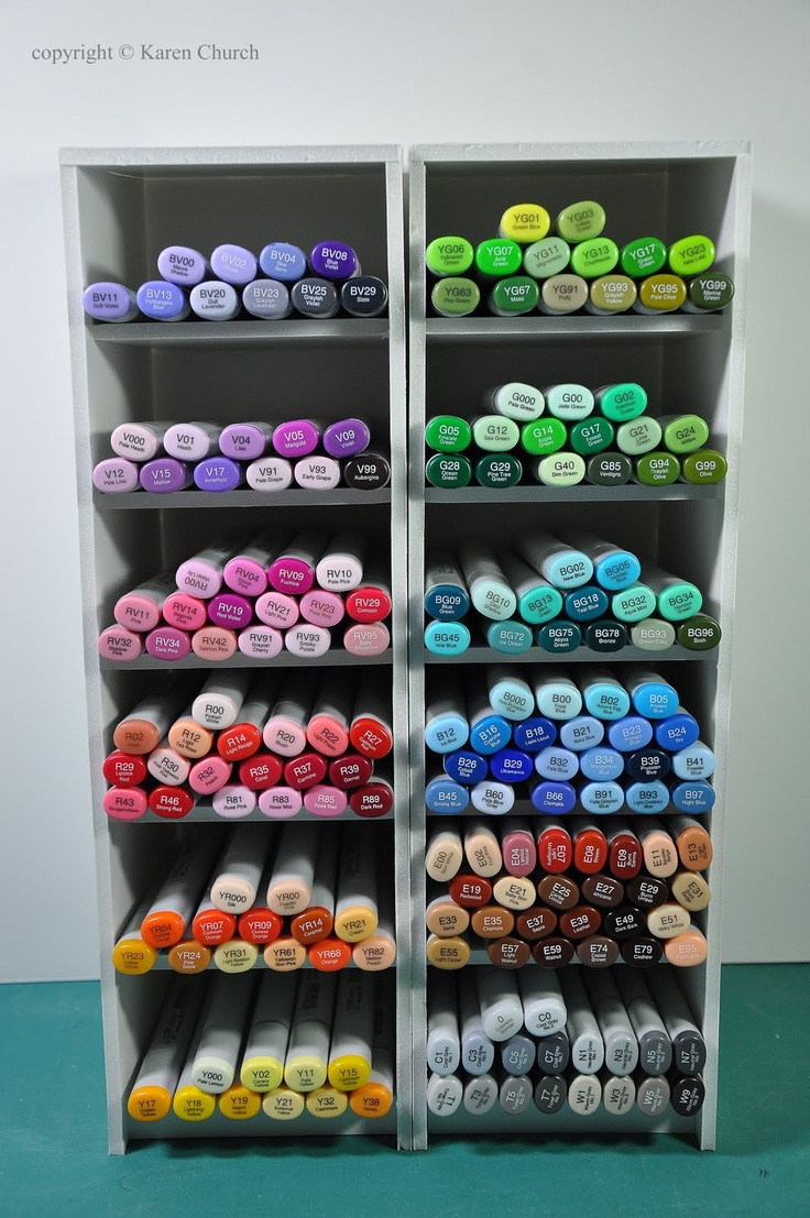 Syzygy of Me: Foam Board Copic Storage - Very detailed tutorial - Shelves tilt backwards slightly to hold markers