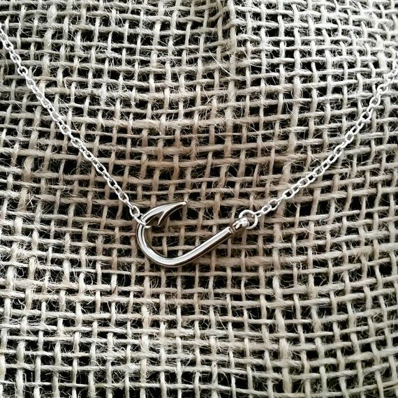 Sideways fish hook necklace in silver