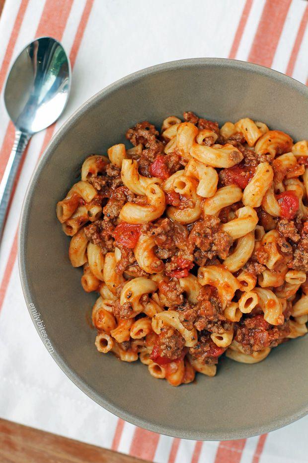 Beefy American Goulash - Emily Bites, 8 Smart Points, One Pot, No Boil