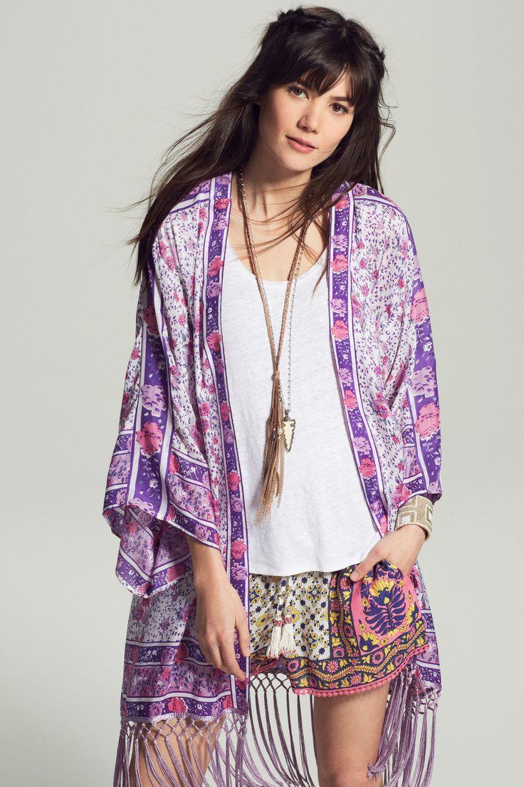 Prudence Printed Silk Kimono Jacket