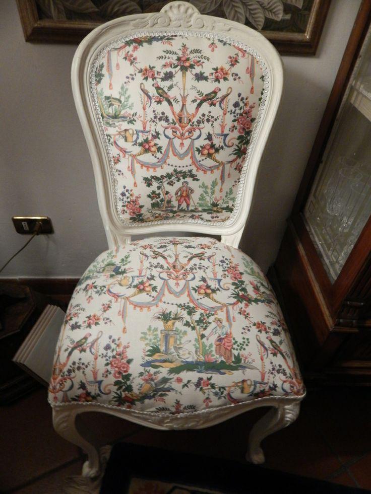sedia luigi filippo risplende con tessuto francese stampato a mano