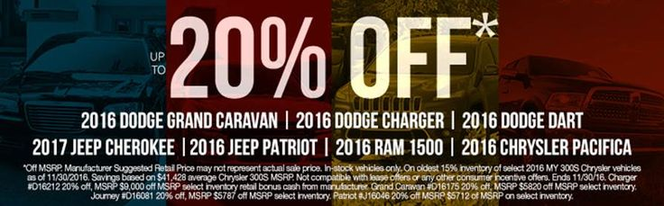 For a limited time only you can save up to 20% at Russ Darrow Chrysler Dodge Jeep Ram!